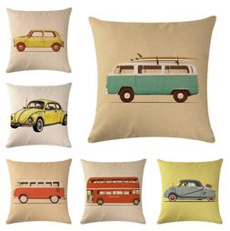 Lovely Car Bus Printed Pillow Cases Cushion Covers Cotton Li