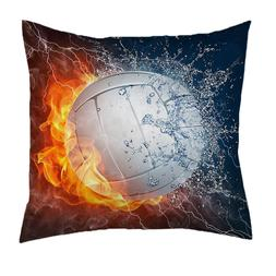 Lover Gift Custom Volleyball Ball On Fire and Water Warm Pil