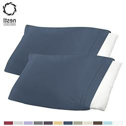 Luxury Pillowcases - Set of 2 - Standard Size, Navy Blue, 10