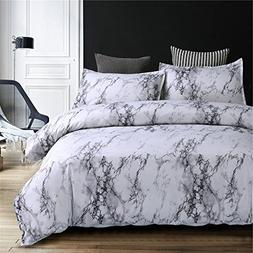 NTBED Marble Pattern Duvet Cover Set 3 Pieces,Microfiber Qui