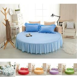Round Ruffle Bed Skirt 78inches Dia 6Color Mattress Cover+2