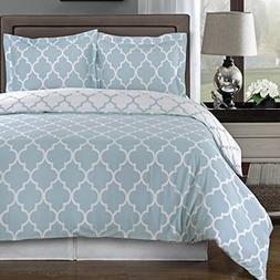 8 Pieces Meridian Blue with White California King Size Bed i