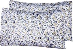 AmazonBasics Microfiber Pillowcases - 2-Pack, King, Blue Flo