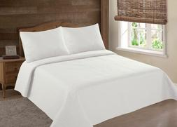 MIDWEST IVORY CREAM NENA SOLID QUILT BEDDING BEDSPREAD COVER