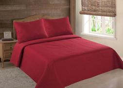 MIDWEST RED SOLID QUILT BEDDING BEDSPREAD COVERLET PILLOW CA