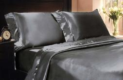 2 Kin Mk Collection 2pc Soft Silky Satin Solid Color King Size Pillow cases Set