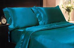 Mk Collection 2pc Soft Silky Satin Solid Color Standard/Quee