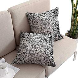 cobeDecor Modern Square Pillowcases Wood Carving Effect Flor