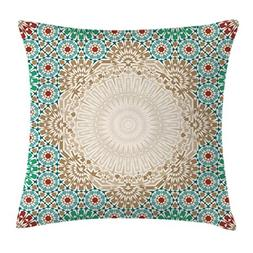 Moroccan Throw Pillow Cushion Cover by Ambesonne, Ottoman Mo