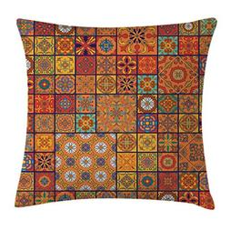 Ambesonne Moroccan Throw Pillow Cushion Cover, Collection of