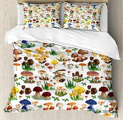 Ambesonne Mushroom Decor Duvet Cover Set, Pattern with Types