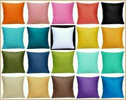 """16x16"""" 100% Cotton Soft Solid Color Throw PILLOW COVER Sofa"""