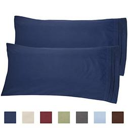 CGK Unlimited Navy Blue Pillow Cases - King Size Set of 2 -