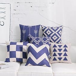 DEZENE Navy Throw Pillow Covers for Couch - Set of 6 - Decor