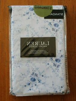 "NEW RALPH LAUREN BLUE FLORAL PILLOWCASES -TWO STANDARD 20"" X"