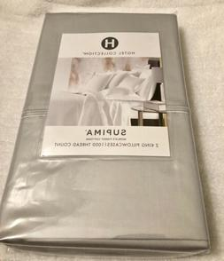 NWT Hotel Collection Supima 1000 TC King Pillow Cases Grey