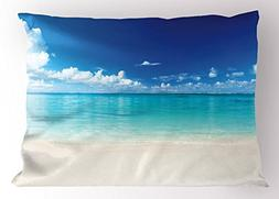 Ambesonne Ocean Pillow Sham, Natural Coastal Sandy Beach and