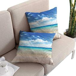 cobeDecor Ocean Square Pillowcases Tropical Summer Holiday T