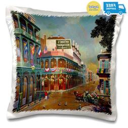 3dRose Old New Orleans Painting - Pillow Case, 16 by 16-inch