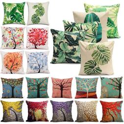 Outdoor Floral Leaf Cotton Cushion Garden Waterproof Pillow
