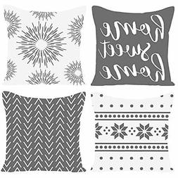 """Pack of 4 Home Sweet Home Decorative Throw Pillow Covers 18"""""""