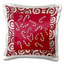 """3dRose pc_26871_1 Candy Canes on Red-Pillow Case, 16 by 16"""""""