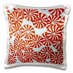 3dRose Peppermint Red, Pillow Case, 16 by 16-inch