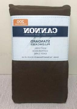 Pillow Cases Count 200 Thread Cocoa Brown Standard 20x32 set