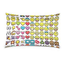 Lovexue Pillow Cases Cute Emoji Bed Throw Pillow Covers Prin