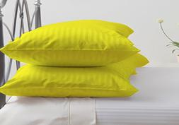 Pillow Cases Set of 2 Striped 600 Thread Count Luxurious Sof