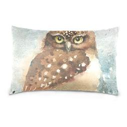 Lovexue Pillow Cases Watercolor Owl Bed Throw Pillow Covers