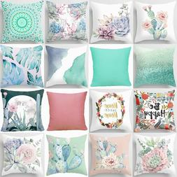 Throw PILLOW COVER Home Decor Decorative Pink White Green Cu