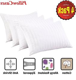 4Pack Anti Allergy Pillow Protectors 100% Cotton Sateen Bed