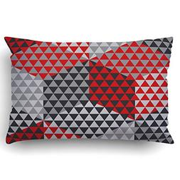 Emvency Pillow Covers Decorative Red And Gray Geometry Hexag