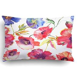 Emvency Pillow Covers Decorative Red Poppies And Blue Flower