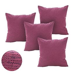 Deconovo Pillows Cases with Invisible Zipper Faux Linen Cush