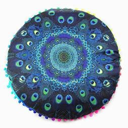 Vovomay Pillows Round Bohemian Throw Pillow Cover Cushion Ca