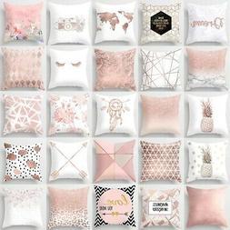 Pink Simple Pattern Pillow Cases Cushion Cover Sofa Waist Th