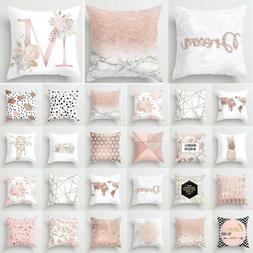 Pink White Geometric Throw Pillow Cases Comfy Cushions Cover
