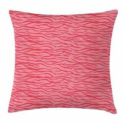 Pink Zebra Throw Pillow Cases Cushion Covers by Ambesonne Ho