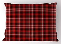 Ambesonne Plaid Pillow Sham, Nostalgic Striped Pattern from