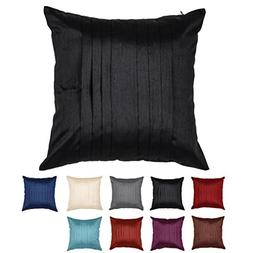 "DreamHome 24"" X 24"" Pleated Faux Silk Pillow Cover"