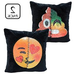 PojoTech Reversible Sequin Emoji Pillow Case 2 Pack, Emoji C