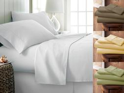 PREMIUM BAMBOO BED SHEET SET SOLID FLAT FITTED DEEP POCKET P