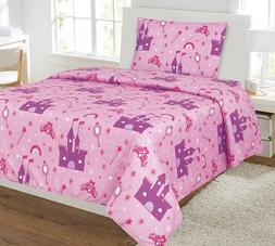 Elegant Home Princess Palace Castle Pink Purple 3 Piece Prin