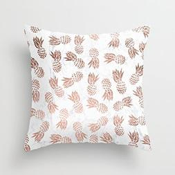 UOOPOO Print Modern Faux Rose Gold Pineapples White Marble P