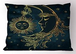 Psychedelic Pillow Sham by Ambesonne, Crescent Moon with Boh