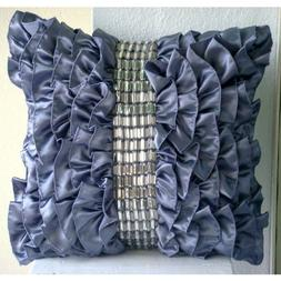 Purple Pillows Cover, Vintage Style Ruffles With Crystals Sh