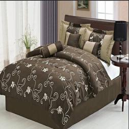 sheetsnthings 11 PC Queen Size Covington Brown Bed in a Bag