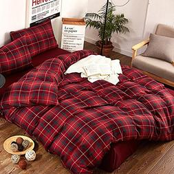 ClothKnow Queen Size Duvet Cover Sets Cotton Red Plaid Set o
